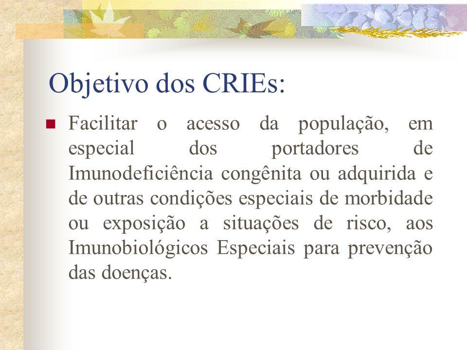 Objetivo dos CRIEs: Facilitar o acesso da população, em especial dos portadores de Imunodeficiência congênita ou adquirida e de outras condições espec