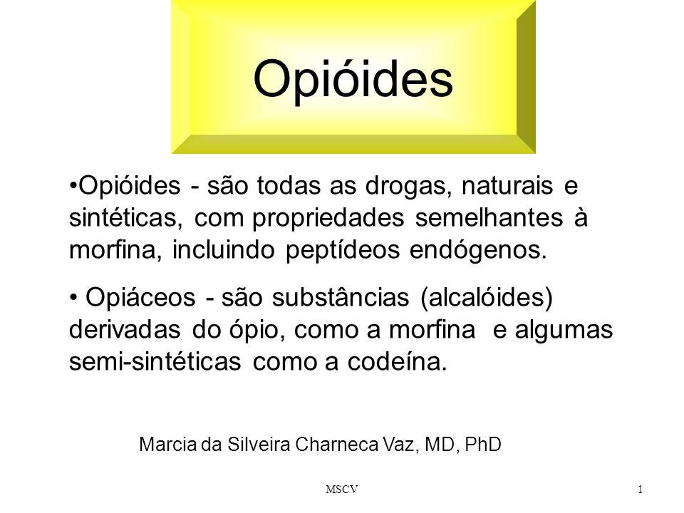 MSCV1 Opióides Marcia da Silveira Charneca Vaz, MD, PhD Opióides - são todas as drogas, naturais e sintéticas, com propriedades semelhantes à morfina,