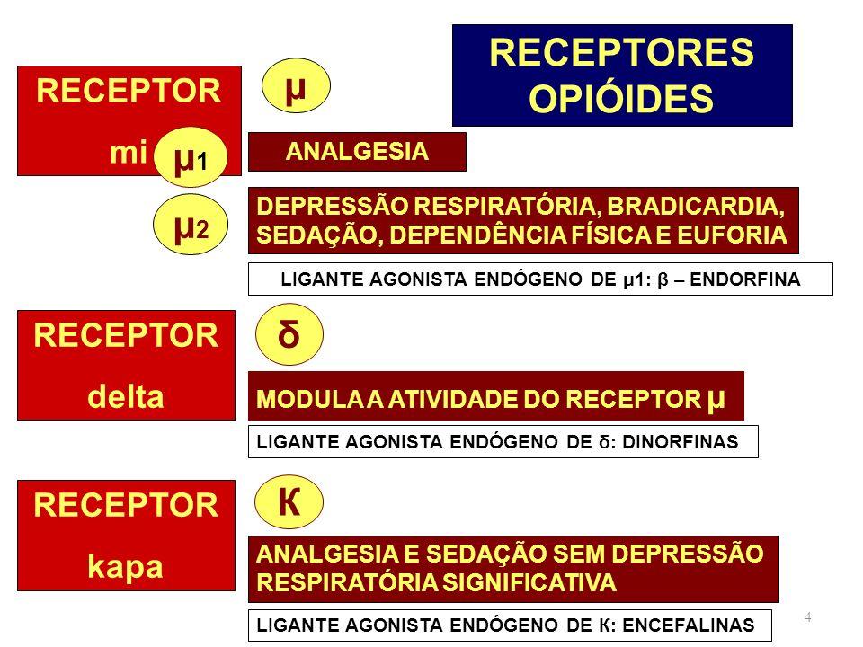 4 RECEPTORES OPIÓIDES RECEPTOR mi μ1μ1 μ ANALGESIA μ2μ2 DEPRESSÃO RESPIRATÓRIA, BRADICARDIA, SEDAÇÃO, DEPENDÊNCIA FÍSICA E EUFORIA LIGANTE AGONISTA EN