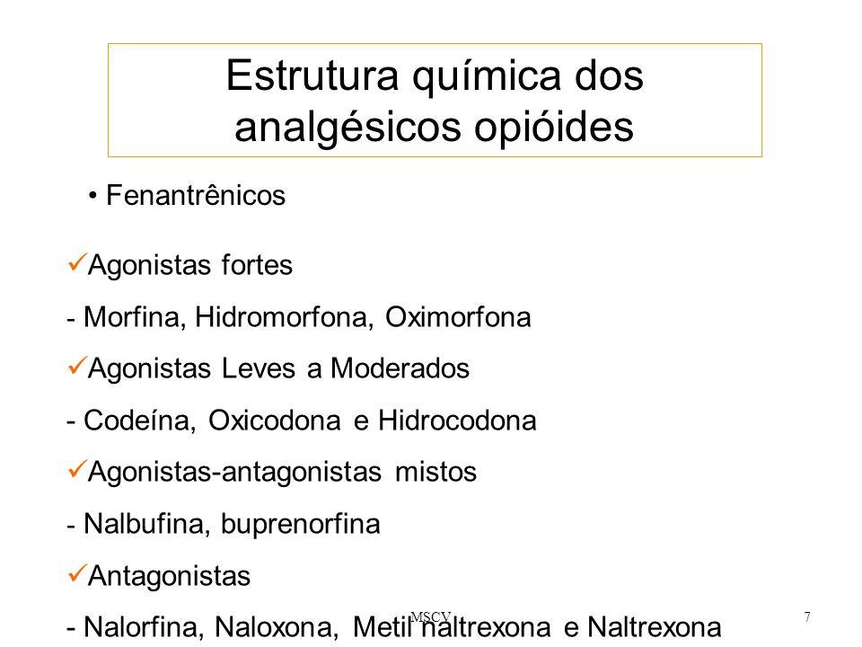 7 Estrutura química dos analgésicos opióides Fenantrênicos Agonistas fortes - Morfina, Hidromorfona, Oximorfona Agonistas Leves a Moderados - Codeína,