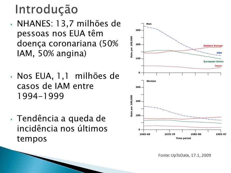 ECG na Isquemia Miocárdica Aguda: – Nova elevação de ST em 2 derivações contíguas: 0,2 mV em homens e 0,15 mV em mulheres em V2-V3 ou 0,1 mV nas demais derivações – Novo infra ST ou alteração de T - Infra retificado ou descendente de 0,05mV em 2 derivações contíguas – Inversão de T 0,1mV em 2 derivações contíguas, com onda R proeminente ou R/S > 1 Universal Definition of Myocardial Infarction.