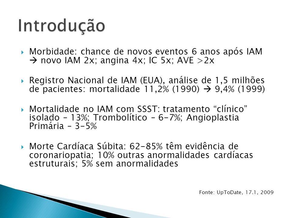 Anterior – DA V1 até V6 Ântero-septal – DA V1 e V2 Ântero-Apical – DA V3 e V4 UpToDate 17.1, 2009
