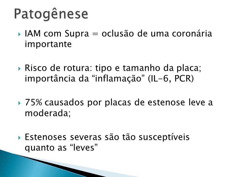 Antiagregação: AAS: para TODOS os pacientes, o mais rápido possível (150 – 325 mg mastigado); manutenção: 100 mg/d AINE´s/Inib COX2: risco de morte, reinfarto, ruptura