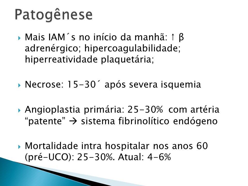 Anticoagulação Melhora a patência da coronária (hr/dias pós fibrinólise) Uso em TODOS os pacientes por no mínimo 48h, de preferência durante toda a internação, até 8 dias Enoxaparina: bolus ev de 30 mg; 15´ depois, iniciar manutenção, 1 mg/kg sc 12/12h (>75 a: sem bolus, 0,75 mg/kg 12/12h; ClCr <30: 1mg/kg 1x/d independente da idade) Fondaparinux: 2,5 mg (ev, bolus)+2,5 mg sc/dia, até 8 dias (OASIS-6) HNF: bolus de 60 U/kg + 12 U/kg.h ev por 24-48h (mais que isso: risco de trombocitopenia induzida por heparina), com TTPa 3-6-12-24h 1,5-2x VR