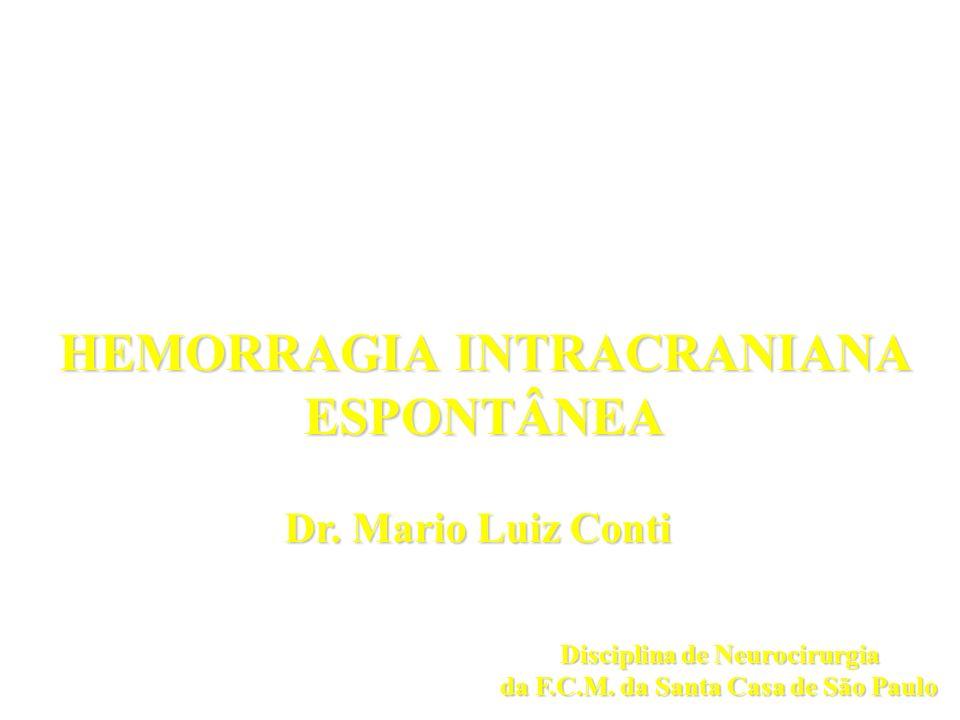 HEMORRAGIA INTRACRANIANA ESPONTÂNEA Dr. Mario Luiz Conti Disciplina de Neurocirurgia da F.C.M. da Santa Casa de São Paulo