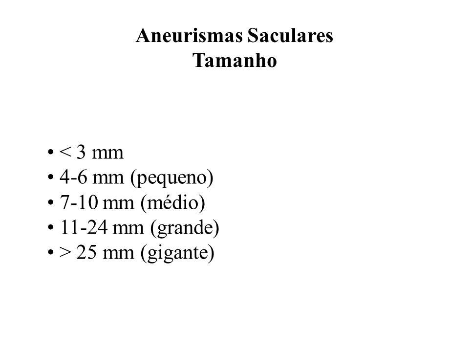 Aneurismas Saculares Tamanho < 3 mm 4-6 mm (pequeno) 7-10 mm (médio) 11-24 mm (grande) > 25 mm (gigante)