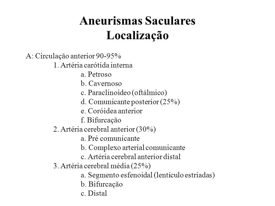 Aneurismas Saculares Localização A: Circulação anterior 90-95% 1. Artéria carótida interna a. Petroso b. Cavernoso c. Paraclinoideo (oftálmico) d. Com