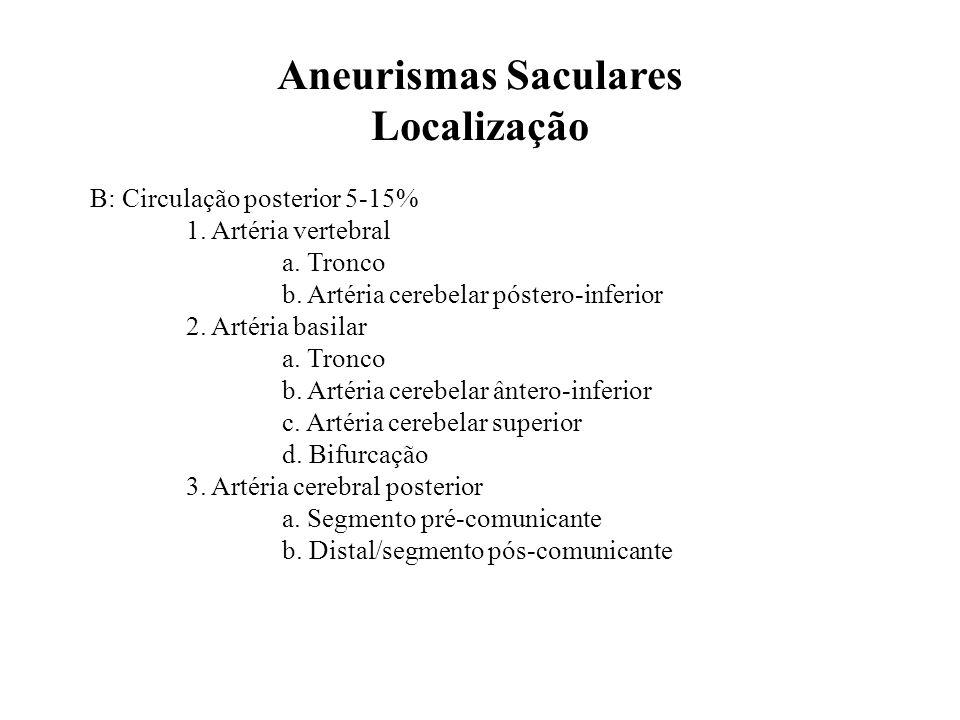 B: Circulação posterior 5-15% 1. Artéria vertebral a. Tronco b. Artéria cerebelar póstero-inferior 2. Artéria basilar a. Tronco b. Artéria cerebelar â