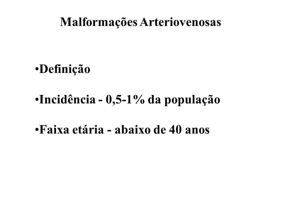Malformações Arteriovenosas Definição Incidência - 0,5-1% da população Faixa etária - abaixo de 40 anos