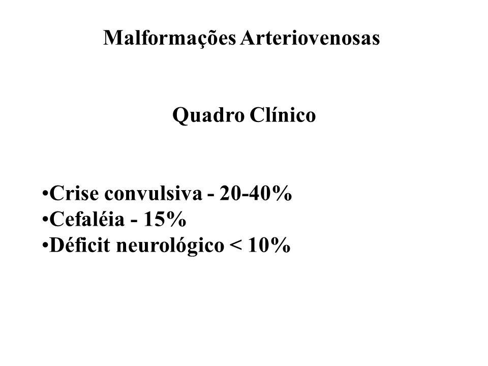 Malformações Arteriovenosas Quadro Clínico Crise convulsiva - 20-40% Cefaléia - 15% Déficit neurológico < 10%