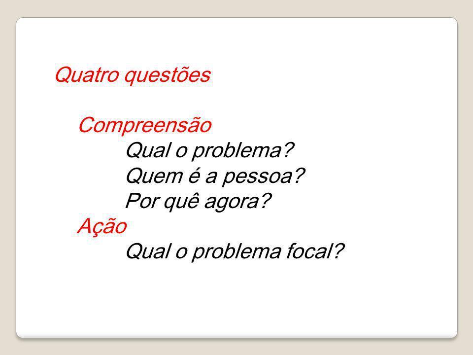 Quatro questões Compreensão Qual o problema? Quem é a pessoa? Por quê agora? Ação Qual o problema focal?