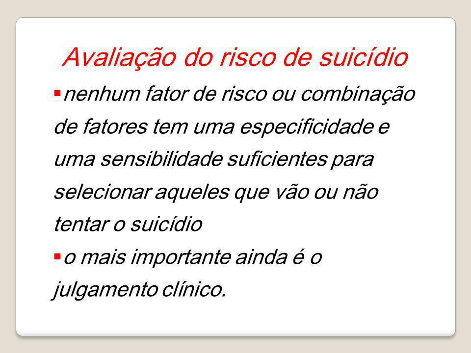 Avaliação do risco de suicídio nenhum fator de risco ou combinação de fatores tem uma especificidade e uma sensibilidade suficientes para selecionar a