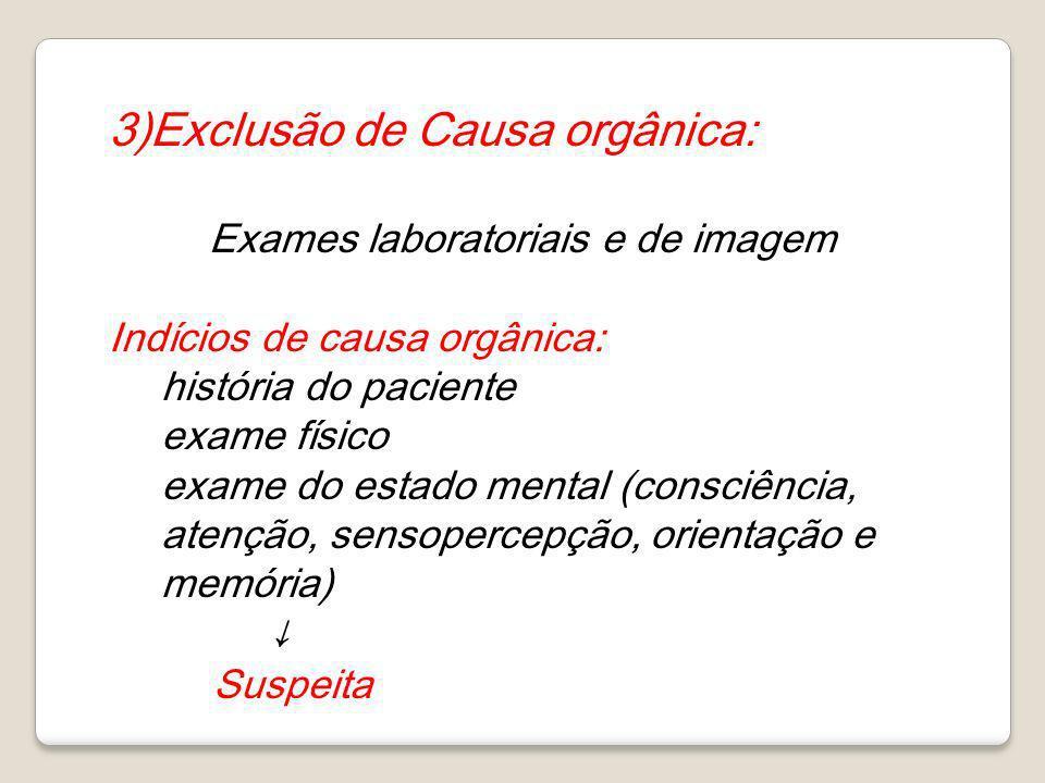 3)Exclusão de Causa orgânica: Exames laboratoriais e de imagem Indícios de causa orgânica: história do paciente exame físico exame do estado mental (c