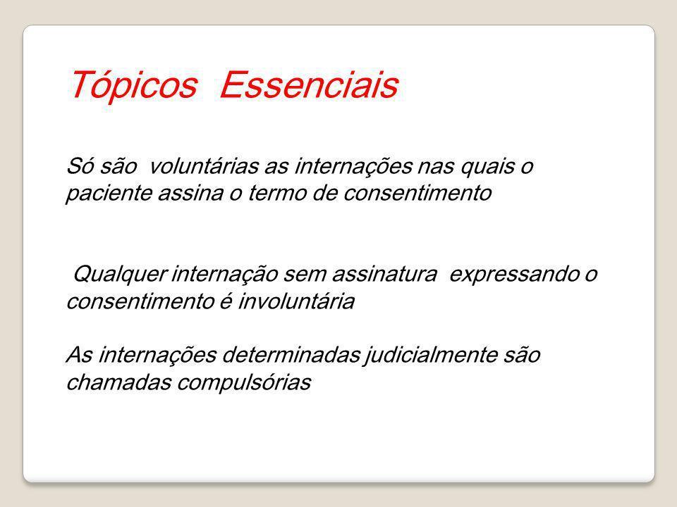 Tópicos Essenciais Só são voluntárias as internações nas quais o paciente assina o termo de consentimento Qualquer internação sem assinatura expressan