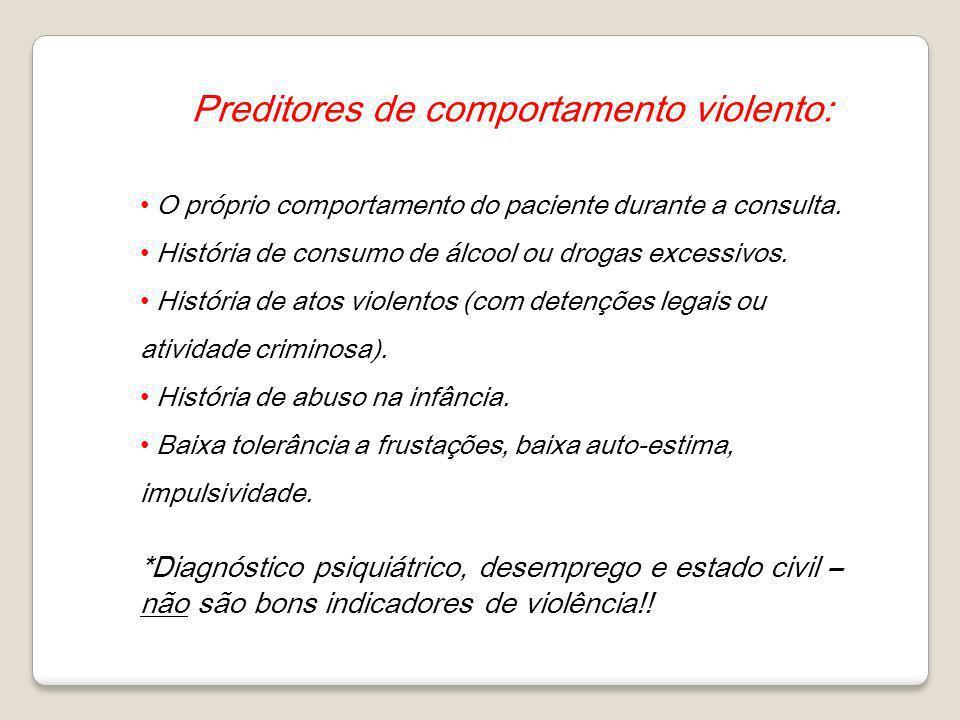 Preditores de comportamento violento: O próprio comportamento do paciente durante a consulta. História de consumo de álcool ou drogas excessivos. Hist