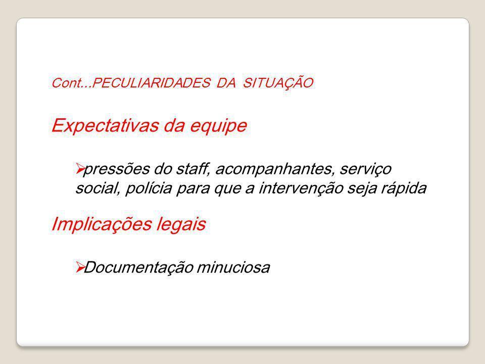 Cont...PECULIARIDADES DA SITUAÇÃO Expectativas da equipe pressões do staff, acompanhantes, serviço social, polícia para que a intervenção seja rápida