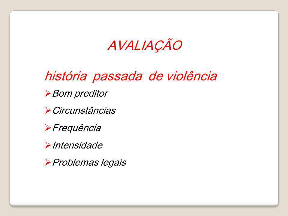 AVALIAÇÃO história passada de violência Bom preditor Circunstâncias Frequência Intensidade Problemas legais