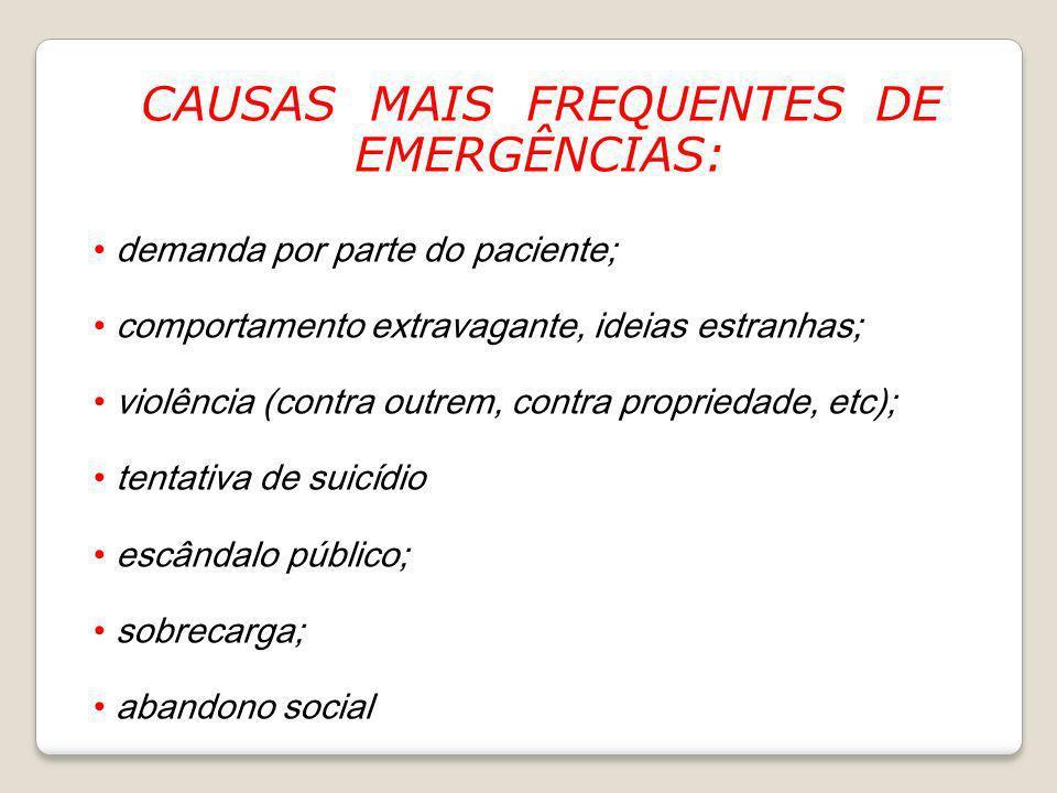 CAUSAS MAIS FREQUENTES DE EMERGÊNCIAS: demanda por parte do paciente; comportamento extravagante, ideias estranhas; violência (contra outrem, contra p