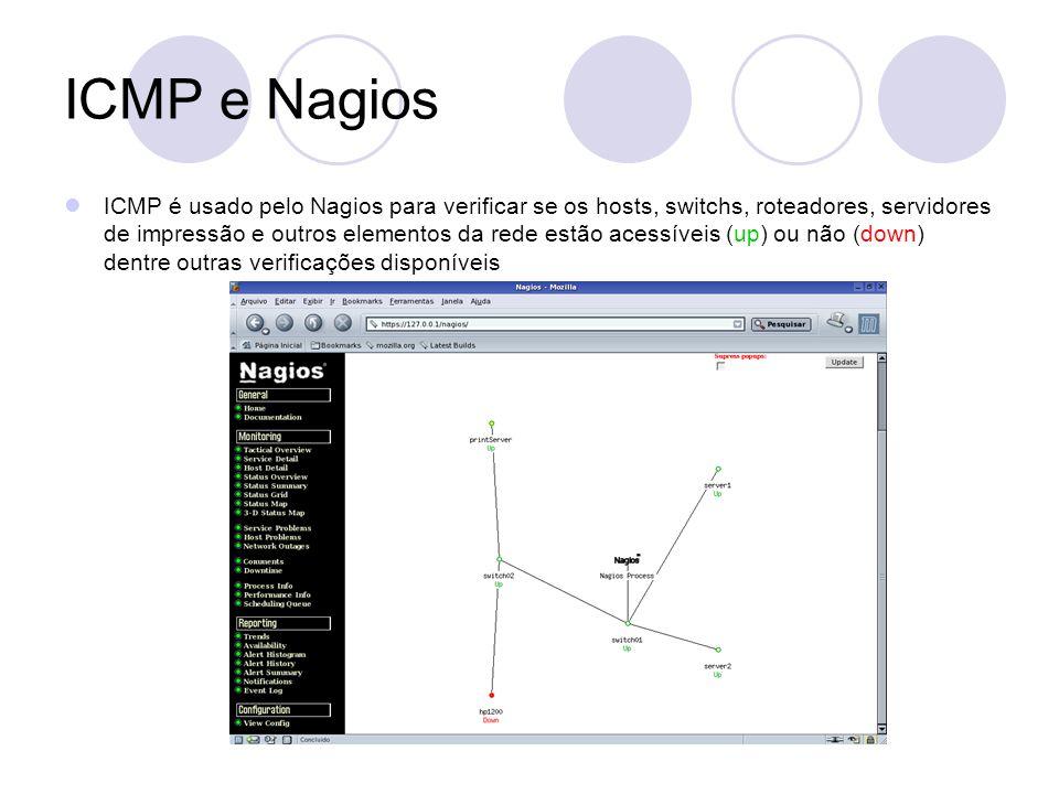 ICMP e Nagios ICMP é usado pelo Nagios para verificar se os hosts, switchs, roteadores, servidores de impressão e outros elementos da rede estão acess