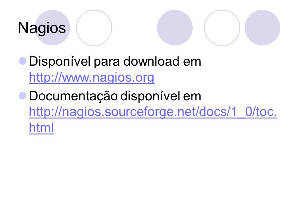 Disponível para download em http://www.nagios.org http://www.nagios.org Documentação disponível em http://nagios.sourceforge.net/docs/1_0/toc. html ht