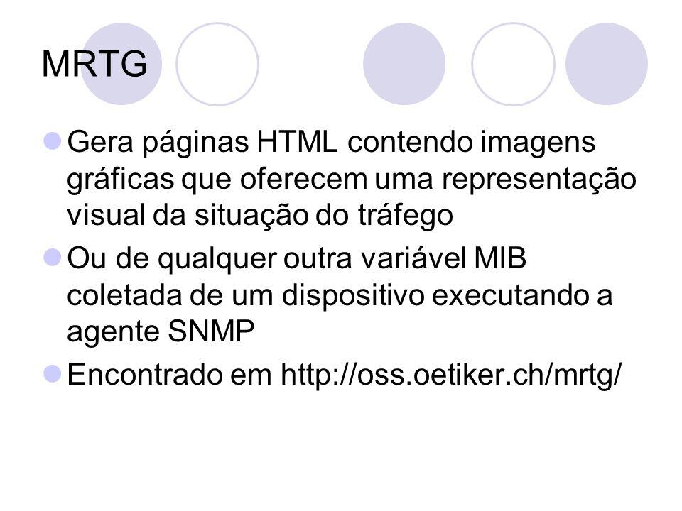 MRTG Gera páginas HTML contendo imagens gráficas que oferecem uma representação visual da situação do tráfego Ou de qualquer outra variável MIB coleta