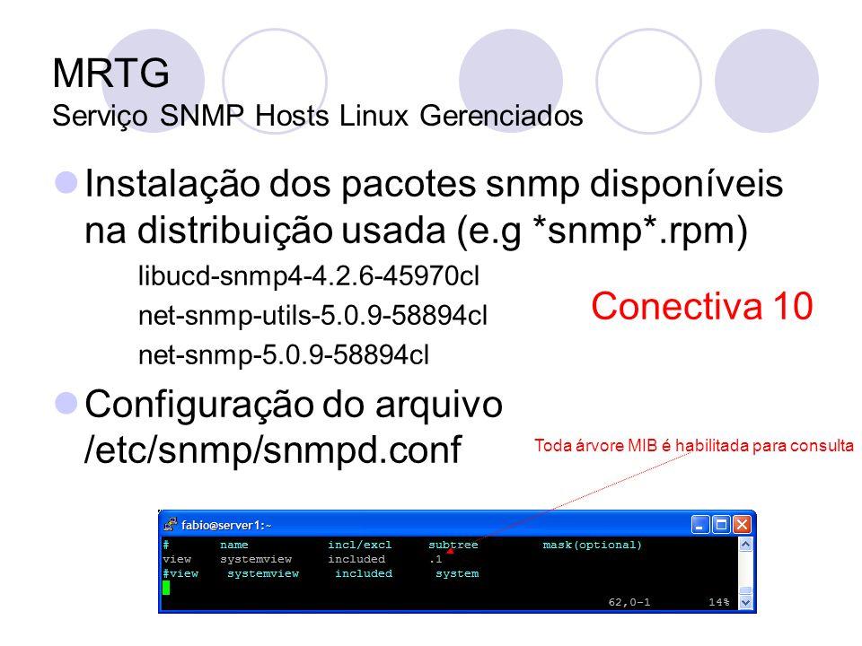 MRTG Serviço SNMP Hosts Linux Gerenciados Instalação dos pacotes snmp disponíveis na distribuição usada (e.g *snmp*.rpm) libucd-snmp4-4.2.6-45970cl ne