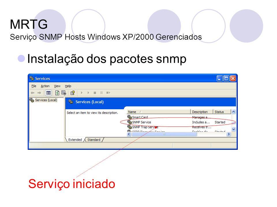 MRTG Serviço SNMP Hosts Windows XP/2000 Gerenciados Instalação dos pacotes snmp Serviço iniciado