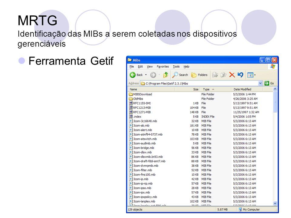 MRTG Identificação das MIBs a serem coletadas nos dispositivos gerenciáveis Ferramenta Getif