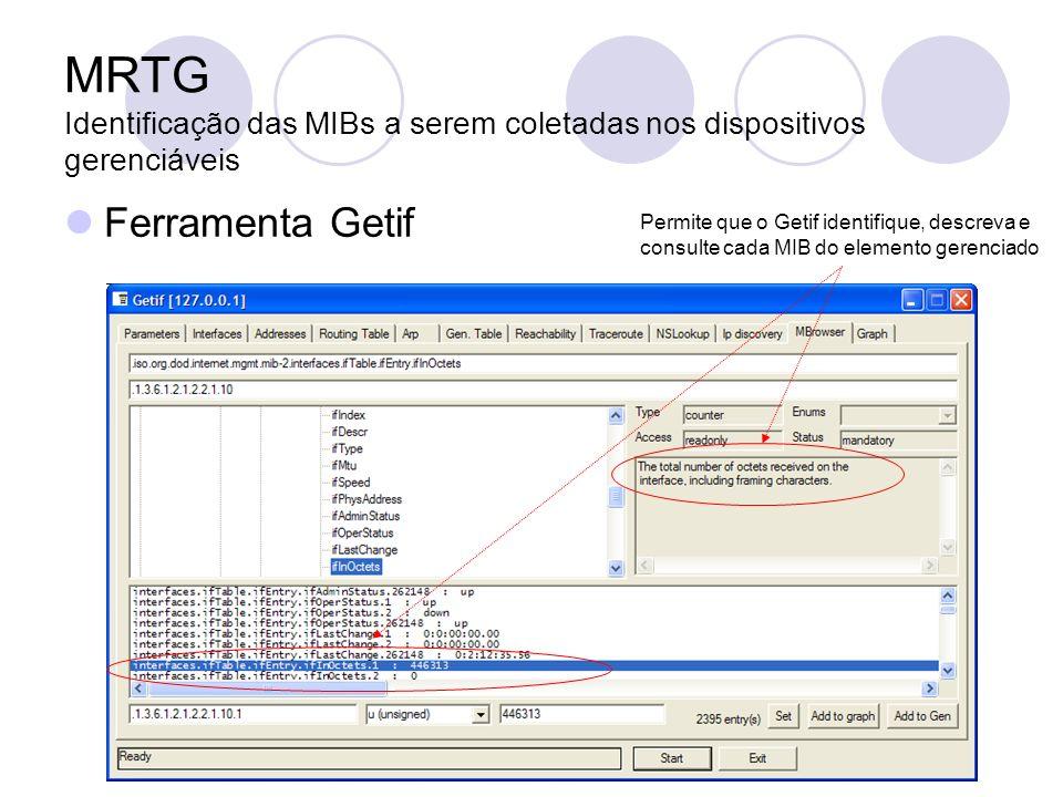 MRTG Identificação das MIBs a serem coletadas nos dispositivos gerenciáveis Ferramenta Getif Permite que o Getif identifique, descreva e consulte cada