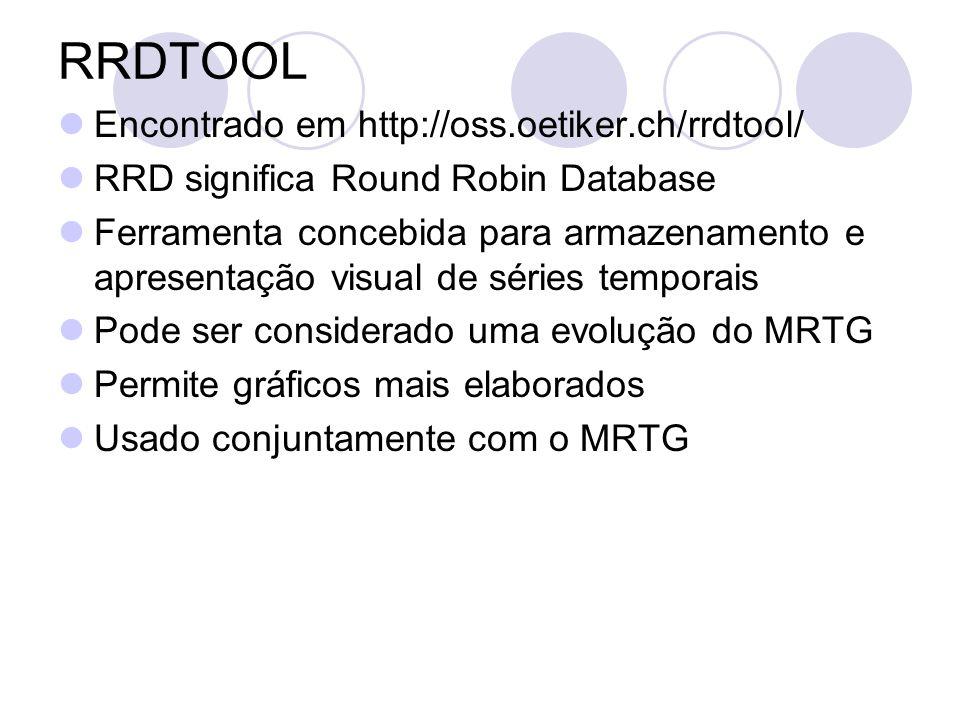 Encontrado em http://oss.oetiker.ch/rrdtool/ RRD significa Round Robin Database Ferramenta concebida para armazenamento e apresentação visual de série