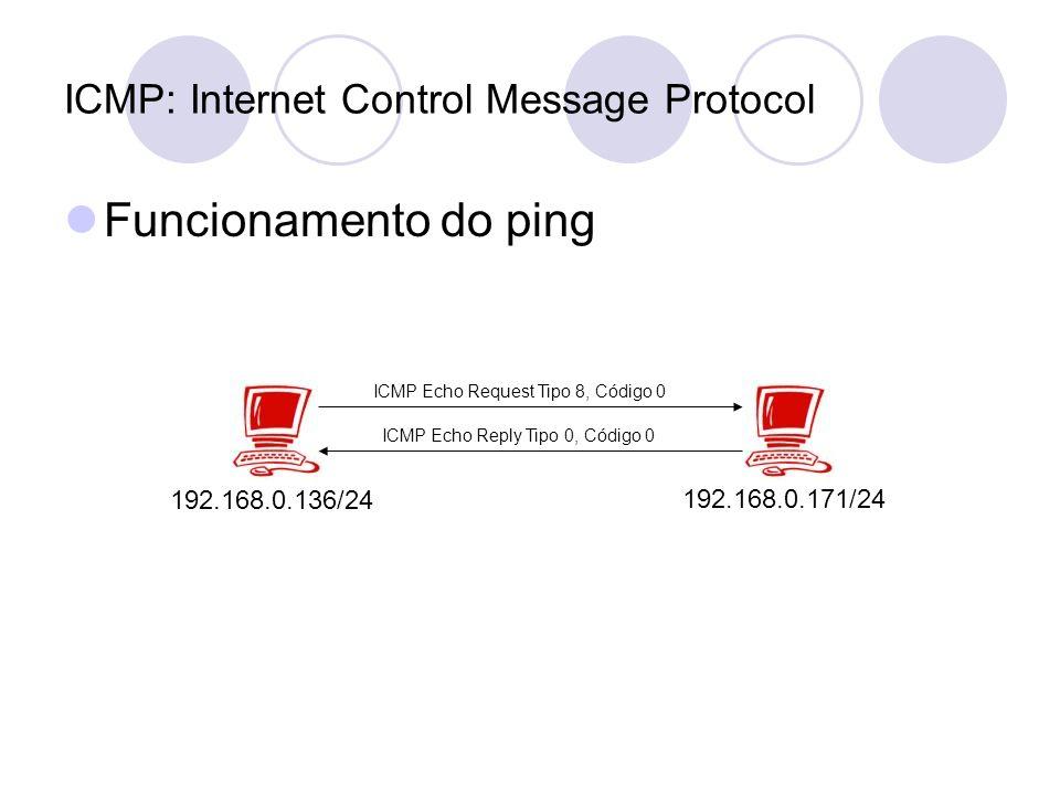 Funcionamento do ping 192.168.0.136/24 192.168.0.171/24 ICMP Echo Request Tipo 8, Código 0 ICMP Echo Reply Tipo 0, Código 0
