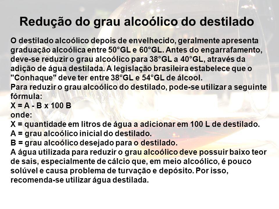 O destilado alcoólico depois de envelhecido, geralmente apresenta graduação alcoólica entre 50°GL e 60°GL. Antes do engarrafamento, deve-se reduzir o