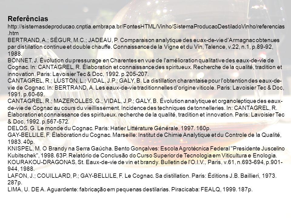 Referências http://sistemasdeproducao.cnptia.embrapa.br/FontesHTML/Vinho/SistemaProducaoDestiladoVinho/referencias.htm BERTRAND, A.; SÉGUR, M.C.; JADE