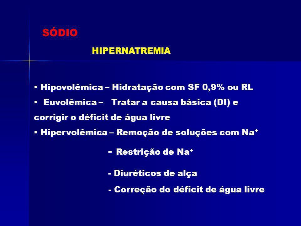 SÓDIO Hipovolêmica – Hidratação com SF 0,9% ou RL Euvolêmica – Tratar a causa básica (DI) e corrigir o déficit de água livre Hipervolêmica – Remoção d