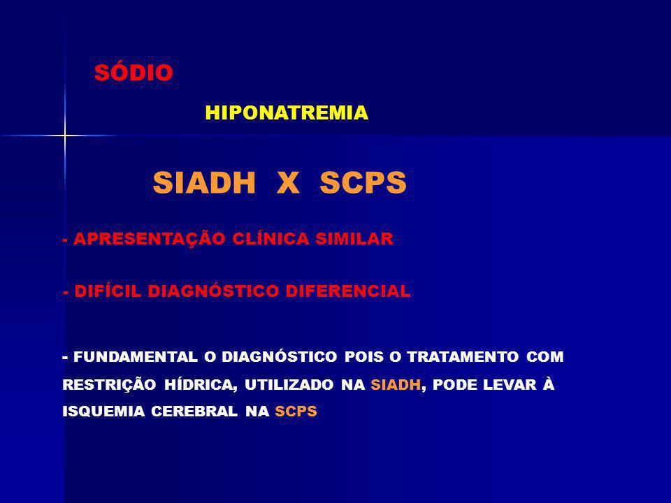 SÓDIO HIPONATREMIA SIADH X SCPS - APRESENTAÇÃO CLÍNICA SIMILAR - DIFÍCIL DIAGNÓSTICO DIFERENCIAL - FUNDAMENTAL O DIAGNÓSTICO POIS O TRATAMENTO COM RES