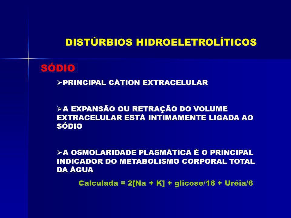 SÓDIO HIPONATREMIA SCPS Tratamento: - Solução Hipertônica se Na + < 120 mEq/L - Não utilizar diuréticos - Não realizar restrição hídrica