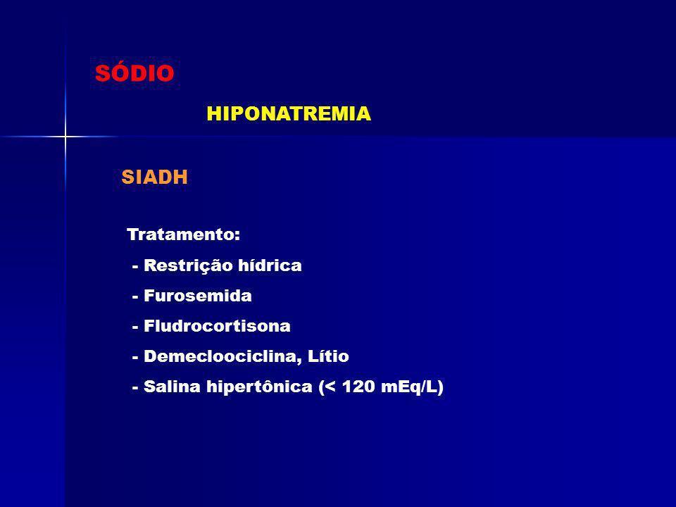 SÓDIO HIPONATREMIA SIADH Tratamento: - Restrição hídrica - Furosemida - Fludrocortisona - Demecloociclina, Lítio - Salina hipertônica (< 120 mEq/L)