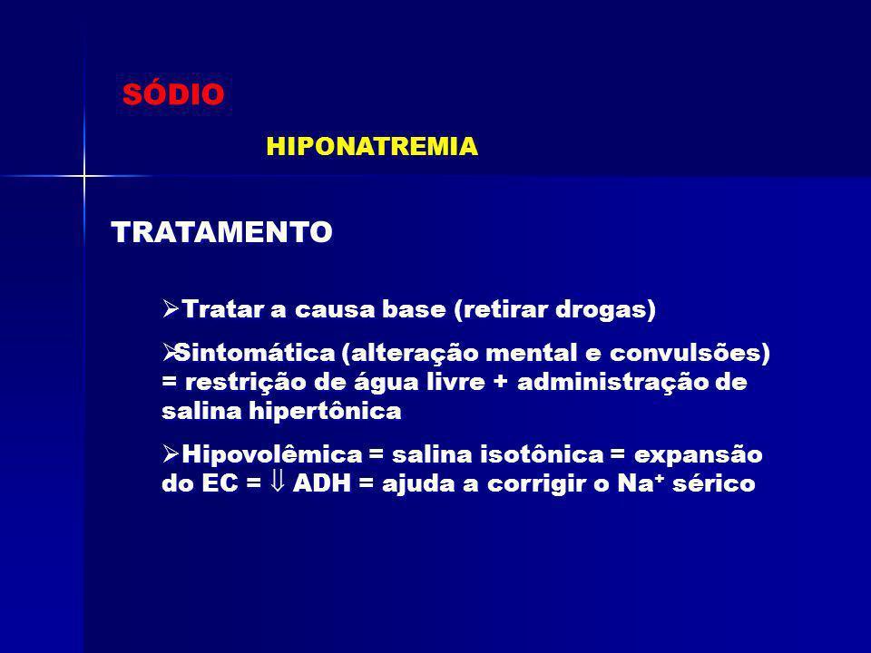 SÓDIO HIPONATREMIA Tratar a causa base (retirar drogas) Sintomática (alteração mental e convulsões) = restrição de água livre + administração de salin