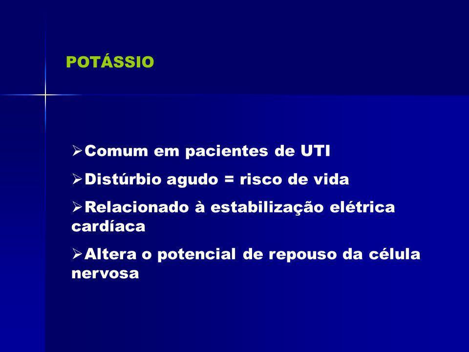POTÁSSIO Comum em pacientes de UTI Distúrbio agudo = risco de vida Relacionado à estabilização elétrica cardíaca Altera o potencial de repouso da célu