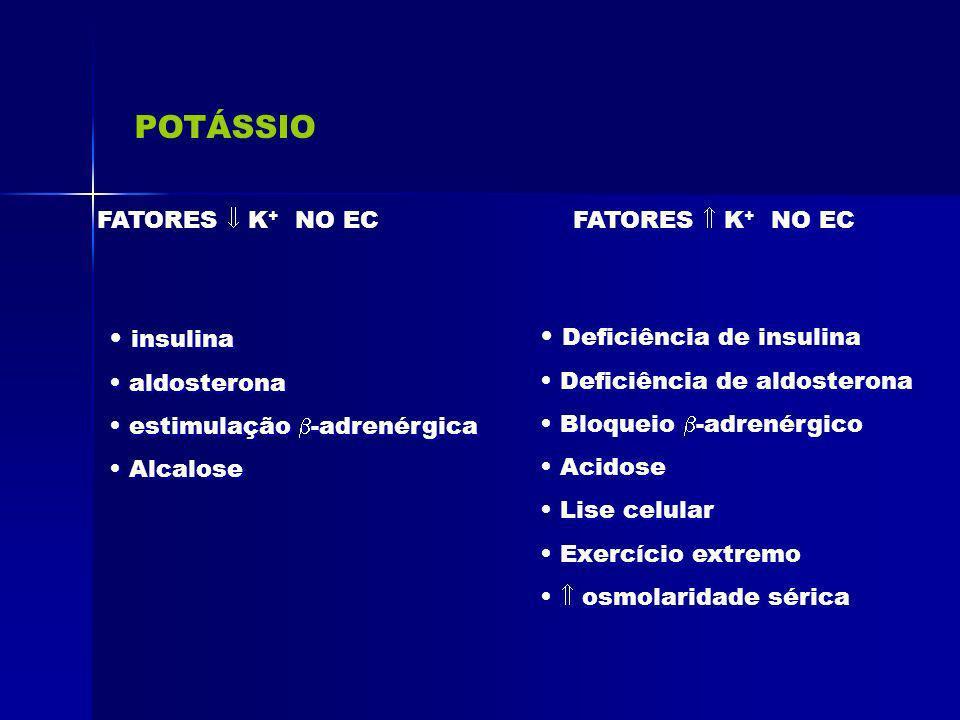 POTÁSSIO FATORES K + NO EC insulina aldosterona estimulação -adrenérgica Alcalose insulina aldosterona estimulação -adrenérgica Alcalose FATORES K + N