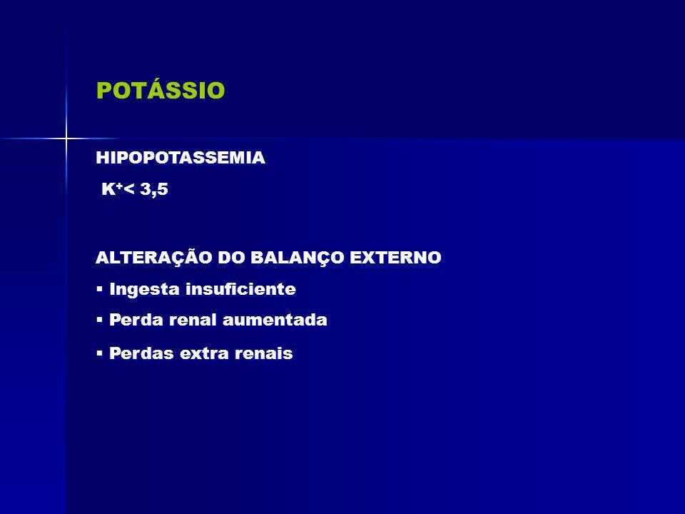 POTÁSSIO ALTERAÇÃO DO BALANÇO EXTERNO Ingesta insuficiente Perda renal aumentada Perdas extra renais ALTERAÇÃO DO BALANÇO EXTERNO Ingesta insuficiente