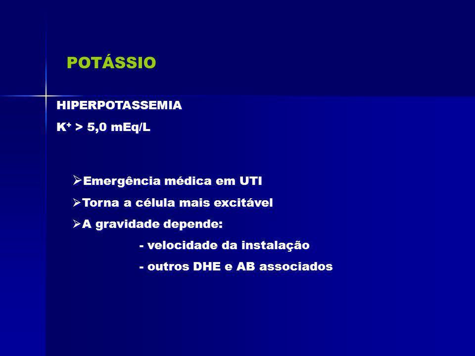 POTÁSSIO HIPERPOTASSEMIA K + > 5,0 mEq/L HIPERPOTASSEMIA K + > 5,0 mEq/L Emergência médica em UTI Torna a célula mais excitável A gravidade depende: -