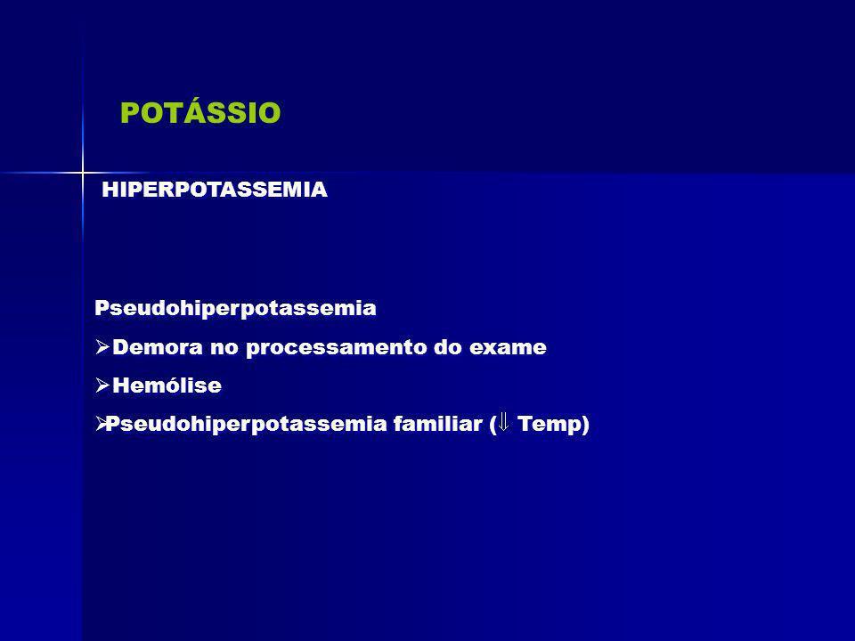 POTÁSSIO HIPERPOTASSEMIA Pseudohiperpotassemia Demora no processamento do exame Hemólise Pseudohiperpotassemia familiar ( Temp) Pseudohiperpotassemia