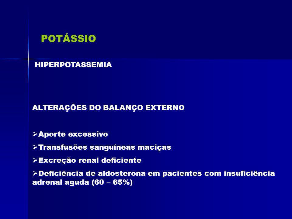 POTÁSSIO HIPERPOTASSEMIA ALTERAÇÕES DO BALANÇO EXTERNO Aporte excessivo Transfusões sanguíneas maciças Excreção renal deficiente Deficiência de aldost