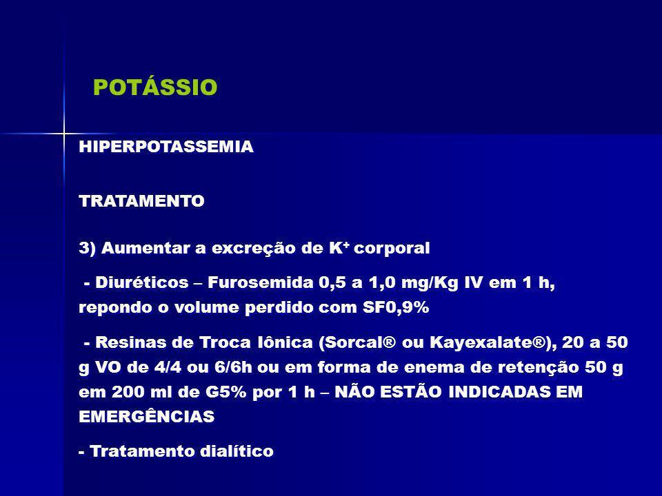 POTÁSSIO HIPERPOTASSEMIA TRATAMENTO 3) Aumentar a excreção de K + corporal - Diuréticos – Furosemida 0,5 a 1,0 mg/Kg IV em 1 h, repondo o volume perdi
