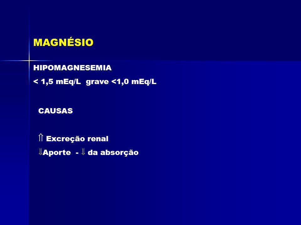 MAGNÉSIO HIPOMAGNESEMIA < 1,5 mEq/L grave <1,0 mEq/L HIPOMAGNESEMIA < 1,5 mEq/L grave <1,0 mEq/L CAUSAS Excreção renal Aporte - da absorção Excreção r