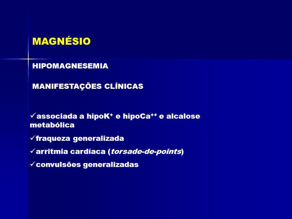 MAGNÉSIO HIPOMAGNESEMIA MANIFESTAÇÕES CLÍNICAS associada a hipoK + e hipoCa ++ e alcalose metabólica fraqueza generalizada arritmia cardíaca (torsade-