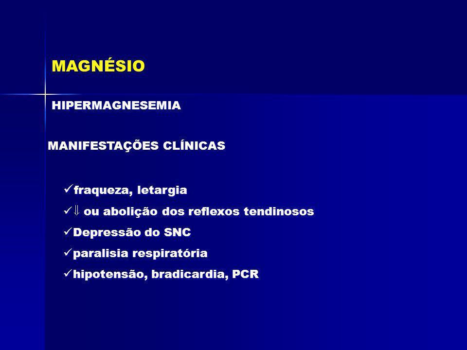 MAGNÉSIO HIPERMAGNESEMIA MANIFESTAÇÕES CLÍNICAS fraqueza, letargia ou abolição dos reflexos tendinosos Depressão do SNC paralisia respiratória hipoten