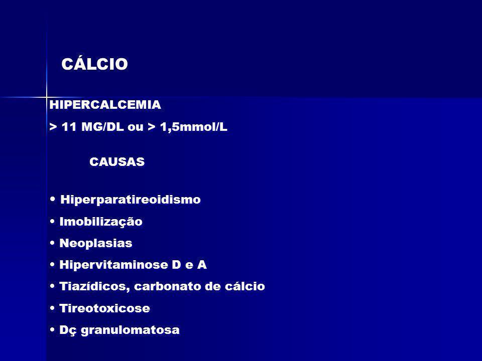 CÁLCIO HIPERCALCEMIA > 11 MG/DL ou > 1,5mmol/L HIPERCALCEMIA > 11 MG/DL ou > 1,5mmol/L CAUSAS Hiperparatireoidismo Imobilização Neoplasias Hipervitami