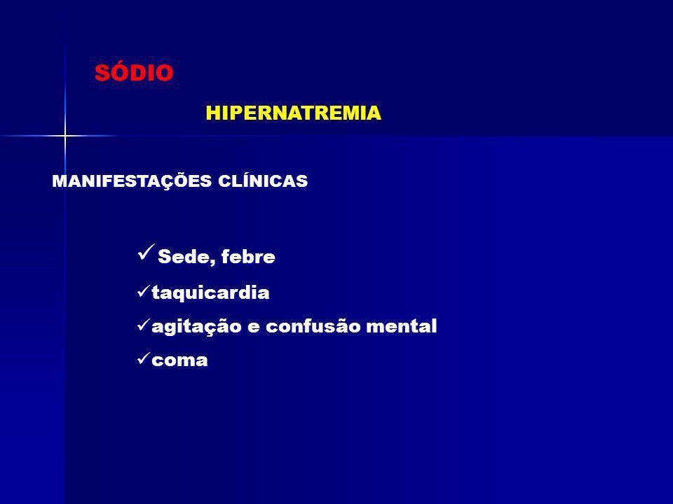 SÓDIO HIPONATREMIA SIADH Posm < 270 mOsmol/L U NA+ > 100 mEq/L Euvolemia clínica Hipouricemia Função Tireiodiana e adrenal normais